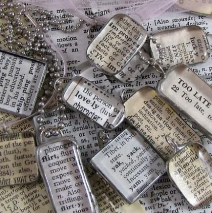 Custom Vintage Dictionary Pendant