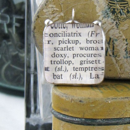 Vintage Dictionary Pendant: Pickup, Trollop, Scarlet $10