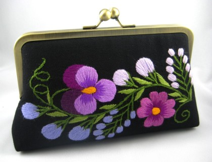 Violets in Winter Hand Embroidered Clutch, by MISMA