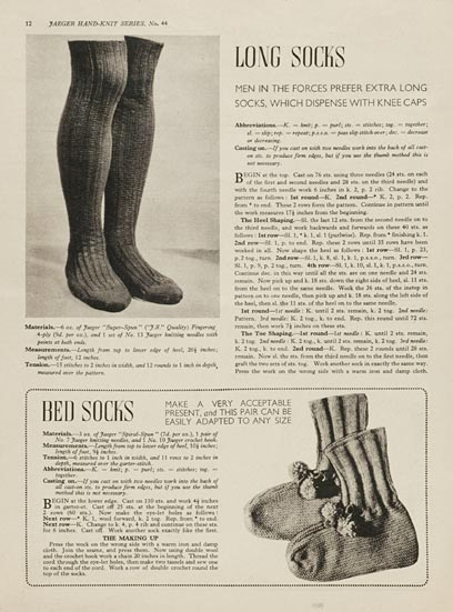 1940's Jaeger Bed Socks - Free Printable Pattern by V&A