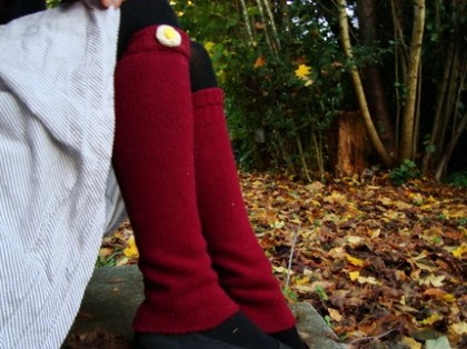 Red Legwarmers/Spats by Wigglin Wasabi, $18