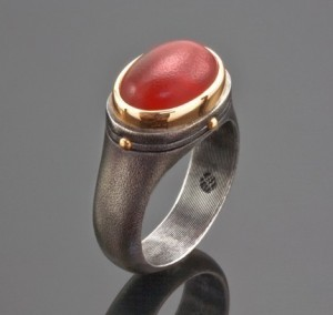 Oxidized Silver, Gold & Carnelian Ring, by Arts Gallery
