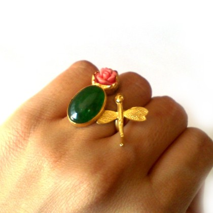 Dragonfly Ring with Carved Coral & Green Jade, by Toosis - $78