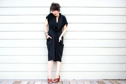 double t-shirt dress - black MEDIUM